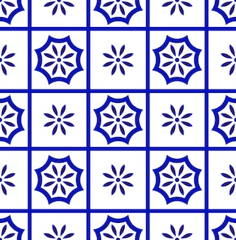 Modello di piastrelle bianche e blu
