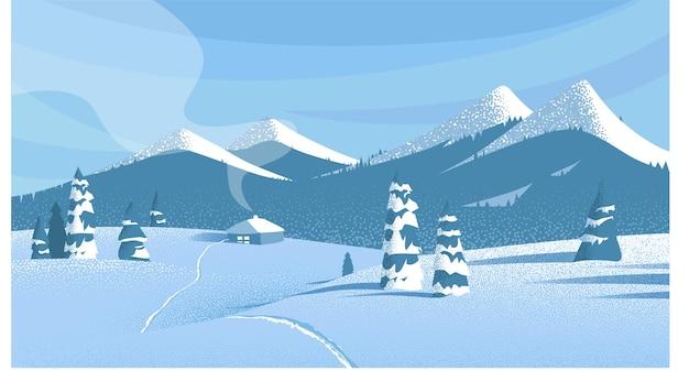 Paesaggio di campagna invernale blu con montagne e neve