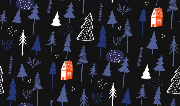 Modello invernale blu con casetta e foresta alberi nudi disegnati a mano e abeti rossi carta da imballaggio