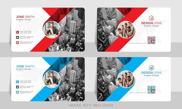 Blu con biglietto da visita aziendale rosso