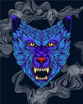 Illustrazione di opere d'arte del lupo blu