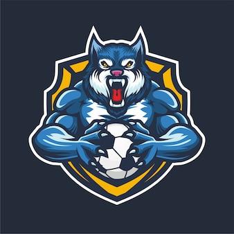 Mascotte logo esport lupo blu per il basket