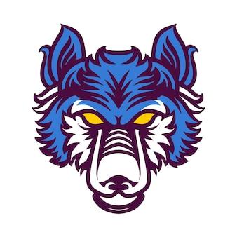 Gioco mascotte testa di lupo blu