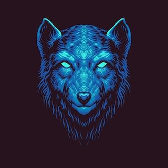 Illustrazione vettoriale testa di lupo blu