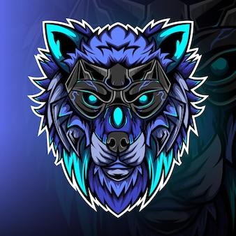 Vettore del logo della mascotte del gioco del cacciatore di lupo blu
