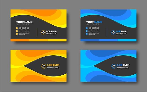 Modello di progettazione di biglietti da visita creativi moderni blu e gialli