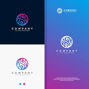 Logo monoline blu yin yang