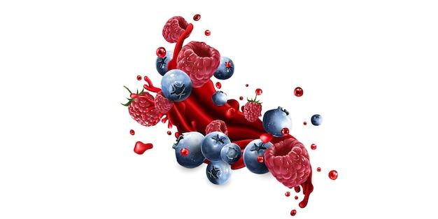 Mirtilli e lamponi e una spruzzata di succo di frutta rossa su sfondo bianco.