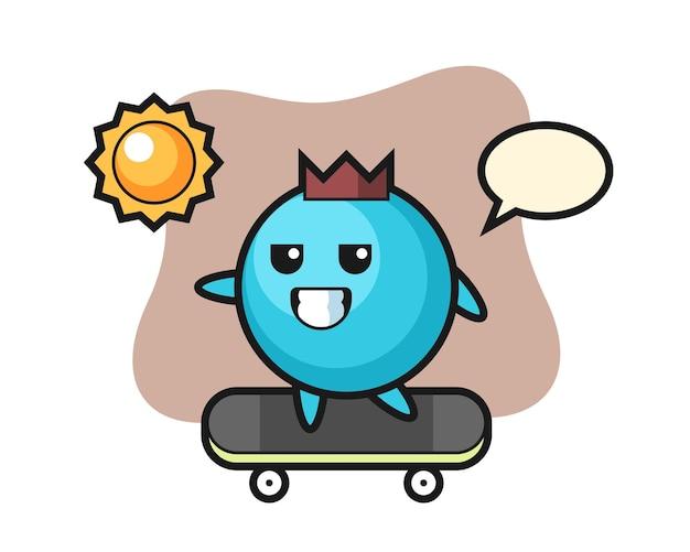 Il personaggio di blueberry cavalca uno skateboard