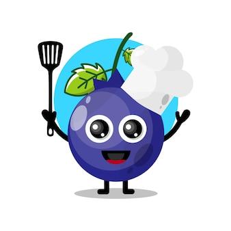 Simpatico personaggio mascotte chef mirtillo
