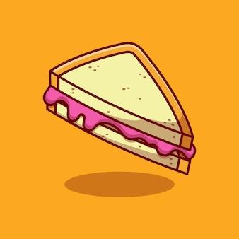 Disegno dell'illustrazione di vettore del panino della marmellata di mirtilli