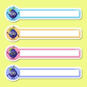 Etichetta mirtillo etichetta nome simpatico personaggio mascotte