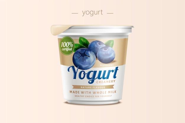 Design della confezione di yogurt ai mirtilli, contenitore per alimenti