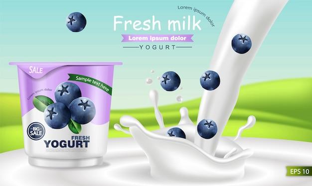 Mockup realistico di yogurt ai mirtilli