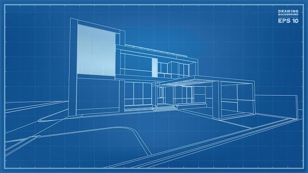 Prospettiva del progetto. rendering 3d di wireframe casa tropicale. illustrazione vettoriale di idea di costruzione della casa.
