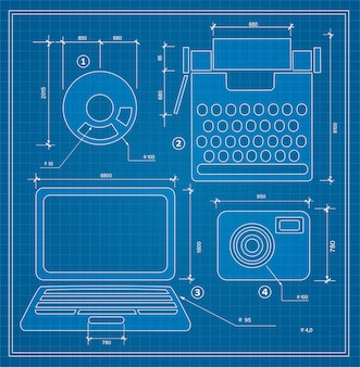 Set di schemi per personal computer di bozze di piano di progetto