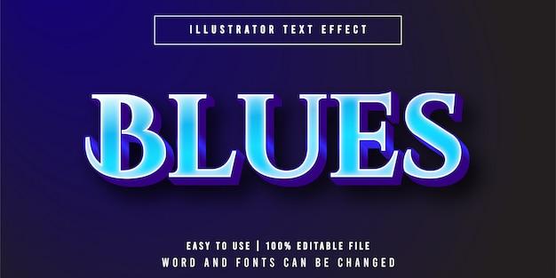 Blues, elegante stile grafico effetto testo di lusso