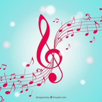 Sfondo sfocato di note musicali con treccia clef