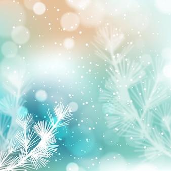 Bellissimi fiocchi di neve e piante sfocate