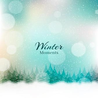 Scritte di bei momenti invernali sfocate