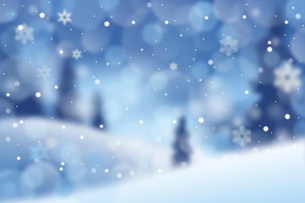 Bellissima carta da parati invernale sfocata