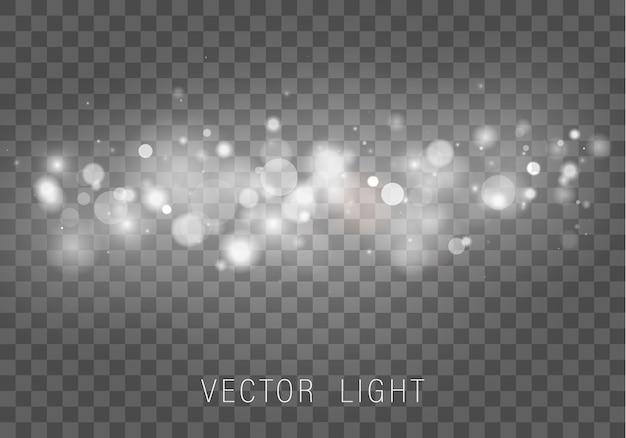 Luce bokeh sfocata su sfondo trasparente. glitter astratto sfocato stelle lampeggianti e scintille.
