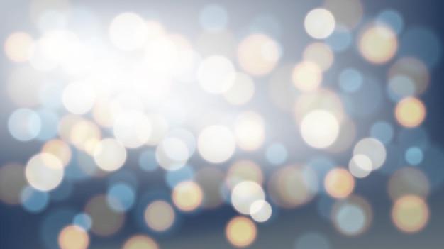 Bokeh astratto luminoso vago sull'illustrazione larga di vettore del fondo blu