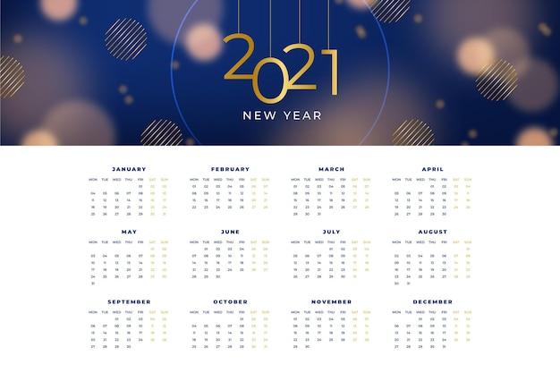 Calendario sfocato del nuovo anno 2021