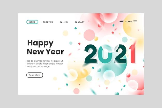 Modello di pagina di destinazione del nuovo anno sfocato