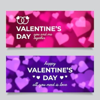 Modello di banner offuscata di san valentino
