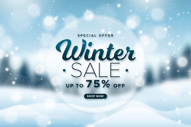 Sfondo sfocato di vendita invernale