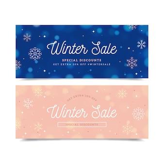 Modello di banner di vendita invernale offuscata
