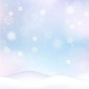 Carta da parati invernale sfocata con fiocchi di neve