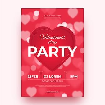 Modello di poster festa di san valentino sfocata