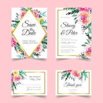 Blush floral wedding invitation