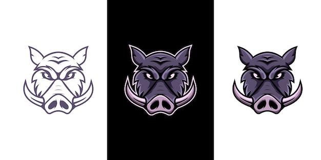 Logo della mascotte di cinghiale e sport