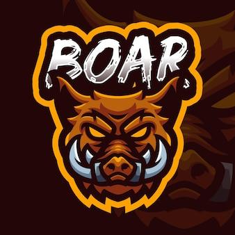 Modello di logo di gioco della mascotte della testa di cinghiale per lo streamer di esports facebook youtube
