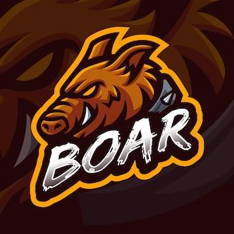 Modello di logo di gioco della mascotte del cinghiale per lo streamer di esports facebook youtube