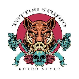 Stile retrò di cinghiale tattoo studio