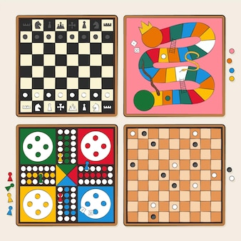 Raccolta di illustrazioni di giochi da tavolo