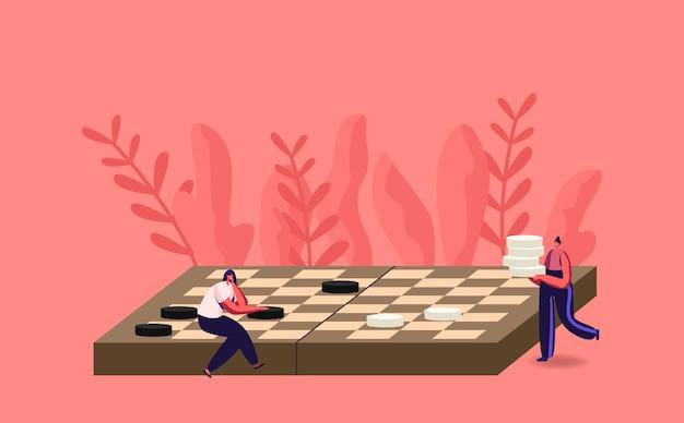Torneo di giochi da tavolo, competizione di giochi da tavolo di logica intellettuale, ricreazione di intelligenza, illustrazione per il tempo libero o per hobby