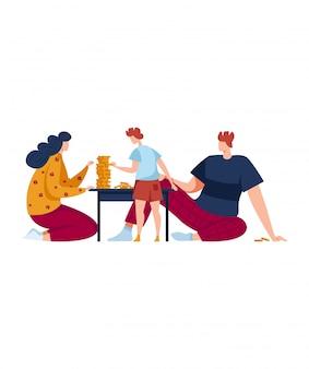 Gioco da tavolo per tutta la famiglia, hobby interessante, divertimento, design in stile cartoon illustrazione, isolato su bianco.