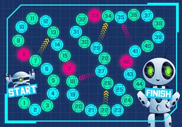 Gioco da tavolo con robot e drone dei cartoni animati, educazione dei bambini vettoriali. dall'inizio alla fine del gioco da tavolo, puzzle dei dadi, indovinello o labirinto con passaggi numerati, frecce, moderno robot bianco ai, androide e quadricottero