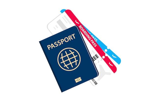 Design piatto della carta d'imbarco. passaporto con biglietti aerei. il concetto di trasporto aereo, turismo internazionale. passaporto di viaggio con biglietti aerei. turismo e viaggi in aereo