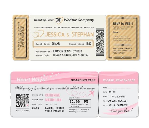 Biglietto della carta d'imbarco, modello di invito di matrimonio alla festa di matrimonio