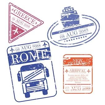 Francobolli di viaggio in barca, autobus e aereo