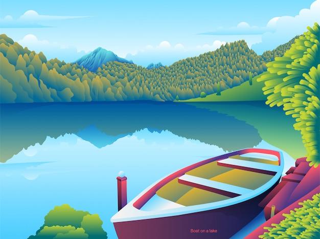 Barca sul bordo del lago