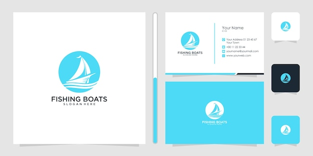 Design del logo di pesca in barca e biglietto da visita