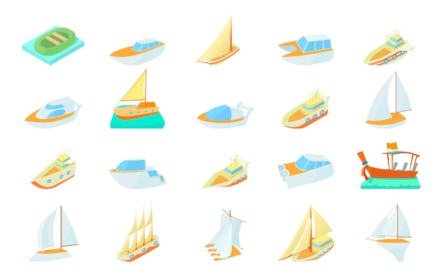 Set di icone di barca