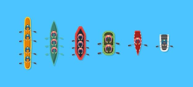 Barca, kayak con persone all'interno.